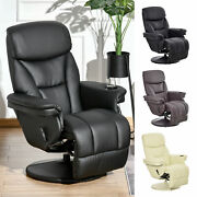 Manual Recliner Swivel Lounge Chair Pu Upholstered Sofa Armchair With Footrest