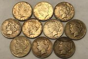 Half-roll Of 10 Mixed Dates Peace Silver Dollars, Most Xf And Some Vf. Uod10