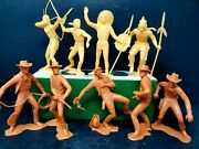 Nine Htf Louis Marx 1960s Cowboys And Indians Plastic Collector's Figures.