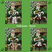 Christmas Irish Santa With Gifts Dogs Cats Photo Jigsaw Puzzle With Tin