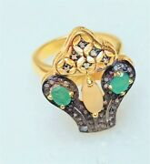Fire Opal Ring Green Emerald With White Diamond Sterling Silver Rings, Jkr-1813