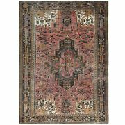 7'6x10'5 Wool Old Farsian Heris Clean Coral Pink Hand Knotted Rug R61187