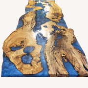 Walnut Table Epoxy Resin Furniture Blue Dining Table Garden Decors Made To Order