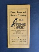 Baltimore Orioles 1943 Spring Training Player Roster Guide - Rare
