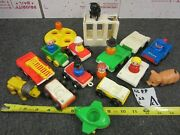 Lot Of 22 Vintage Fisher Price Little People Figures Cars Lion Cage Clown Plane