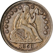 1853 Seated Liberty Dime No Arrows Anacs Ef40 Key Date Great Eye Appeal