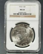 1923 P Peace Silver Eagle Dollar Coin Ngc Ms64 Ch Bu Unc Certified