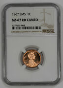 1967 Sms Lincoln Cent Penny 1c Ngc Certified Ms 67 Rd Cameo 004
