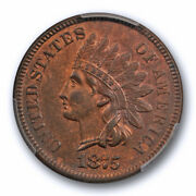 1875 1c Indian Head Cent Pcgs Ms 62 Bn Uncirculated Better Date Some Red