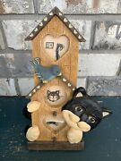 Resin Cat With Bird And Birdhouse 3-d Photo Frame, Holds 3 Small Photos