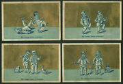 The Young Actors Trade Card Set Of 4 Samples 1880s Clowns Musician Skates