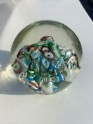 Vintage Millefiori Paperweight 3 Inches High Egg Shaped