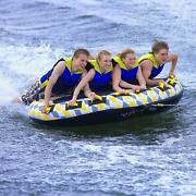 Four Rider Inflatable Water Float Towable Boat Tube Large Anti Chafe Guard