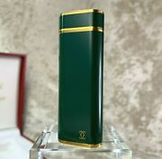 Rare Vintage Lighter Green Lacquer 18k Gold Plated Accents W/ Case