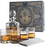 Regal Trunk Whiskey Decanter Set In A Gift Box - Lead Free Crystal Glass Whiskey