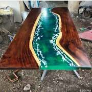 Green Epoxy Resin River Dining Center Table Top Living Home Decors Made To Order