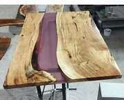 Transparent Wooden Acacia Custom Resortdining Epoxy Table Decors Made To Order