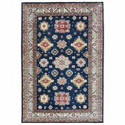 9and039x12and0396 Hand Knotted Navy Blue Super Kazak With Little Stars Wool Rug R61357