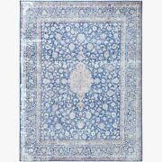 9and0398x12and0398 Bohemian Hand Knotted Farsian Karman Clean Wool Denim Blue Rug R61326