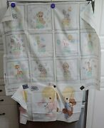 Precious Moments Fabric Panel Book Or Quilt Squares + 2 Boy Girl Pillow Dolls