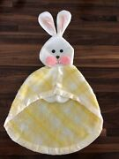 Fisher Price Plaid Yellow Bunny Lovey Baby Security Blanket Vintage Rabbit 1979