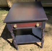 Vintage Handpainted All Wood Two Tier Side Table - Large - 1 Drawer W/orig Pulls