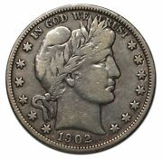 1902o Silver Barber Half Dollar 50andcent Coin