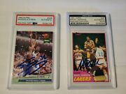 1981 Magic Johnson Signed Rc Psa And 1992 Shaquille Oand039neal Signed Rc Psa