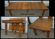 Antique 42 Square Solid Oak Dining Table W 8 Leaves Fancy Legs And Apron Carving