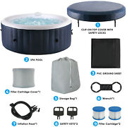 4 Person Inflatable Hot Tub Jets Spa With Tub Cover - Built In Heater 71x26.5
