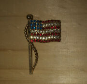 Vintage Rhinestone American Flag Pin. Red, White,blue With A Gold Tone