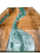 Green Epoxy Table Wooden Acacia Living Dining Furniture Decorative Made To Order