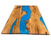 Blue Custom Order Epoxy Table Furniture Dining Resin Table Decors Made To Order