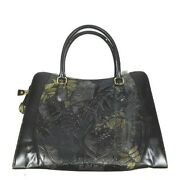 Embossment Carving Stamped Leather Tote Bag Black H5 Women 's