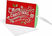Gift Card Holder Boxed Cards, Merry Christmas And Happy New Year 8-count