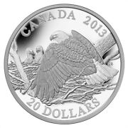 Bald Eagle Mother Protecting Her Eaglets - 2013 Canada 20 Fine Silver Coin