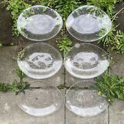 """6 Vintage Oval Clear Glass Crab Plates / Platters - Kosta Boda - 12.5"""""""