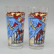 1977 Pepsi Collector Dynomutt Blue Falcon Set Of 2 Glass Tumblers