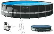 New Intex 22ft X 52in Ultra Xtr Frame Round Pool Set With Sand Filter Pump