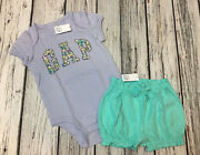 Baby Gap Girls 6-12 Months Purple Logo Shirt And Teal Shorts Outfit. Nwt