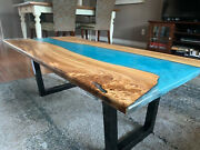 Epoxy Table Blue Custom Furniture Dining/coffee Wooden Acacia Deco Made To Order