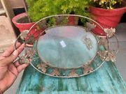 Antique Brass Handcrafted Beautiful Leaf Embedded Decorative Serving Tray