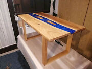 Furniture Dining/coffee Wooden Acacia Blue Epoxy Table Top Decors Made To Order