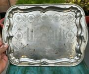 Indian Collectible Brass Handcrafted Silver Plated Taj Mahal Carved Serving Tray