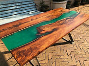 Epoxy Table Top Green Furniture Wooden Acacia Dining Room Decor Made To Order