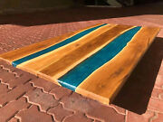 Blue Epoxy Resin River Table Sofa Center Dining Table Top Decorate Made To Order