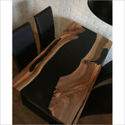 Matte Black Epoxy Natural Wooden Din Table Top Furniture Decorate Made To Order