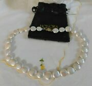 Honora 12mm Freshwater Coin Shape Cultured Pearl Necklace Sterling Silver 925