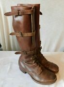 Vintage Wwii Tall Brown Leather Tank Boots Cavalry Us Army 3 Buckle 9 1/2 9.5