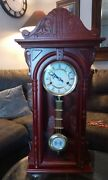 Vintage Baby Grandfather Wind Up Chime Clock For Mantle Or Wall